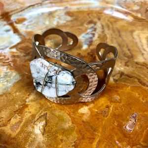 White Buffalo Gold Woven Chunky Cuff Bracelet